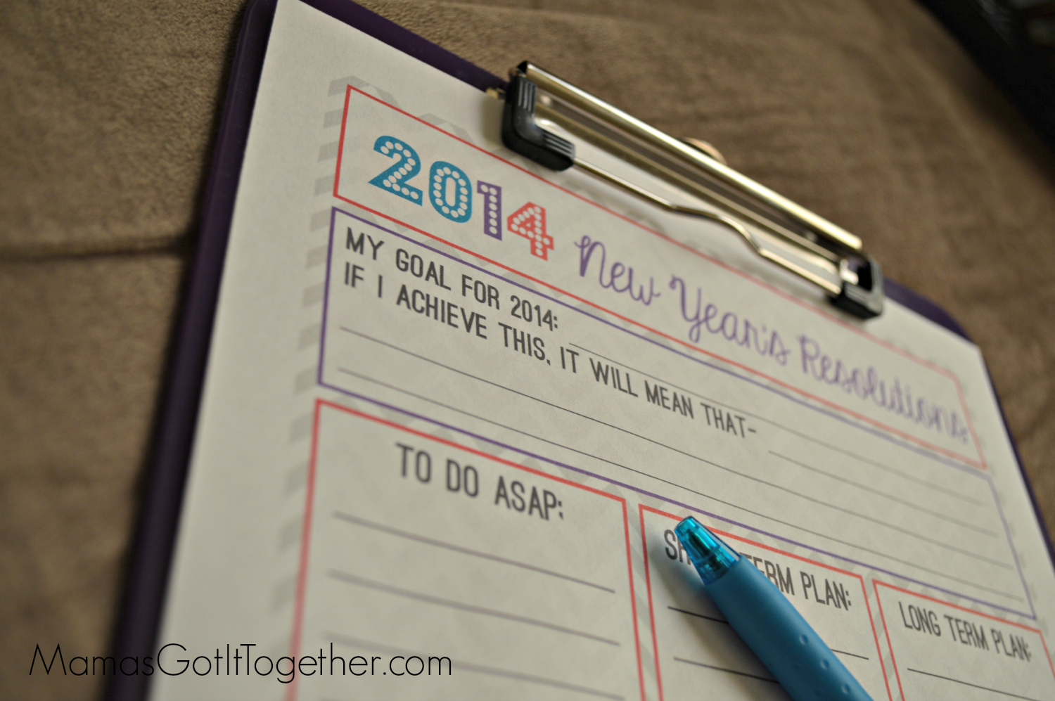 FREE 2014 New Years Resolutions Printable