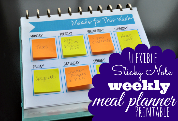 Free Sticky Note Meal Planner Printable