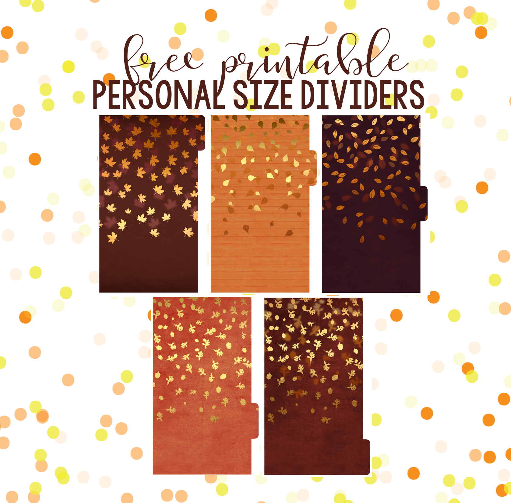 FALL FREEBIES! Printable Dashboards & Dividers