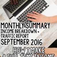 Traffic + Income Report for September 2016