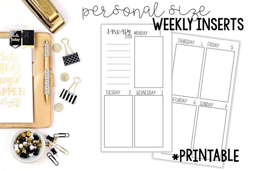 image relating to Printable Planner Inserts referred to as Free of charge Printable 2017 Planner Inserts! - Building Impressed