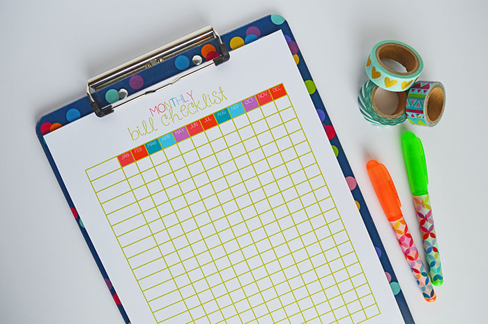 Free Monthly Bill Checklist Printable