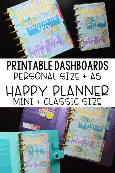graphic about Free Happy Planner Printables named No cost Printable Planner Dashboards - Summertime Ocean Concept