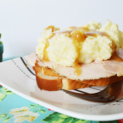 Hot Turkey Sandwich with Mashed Potatoes and Gravy