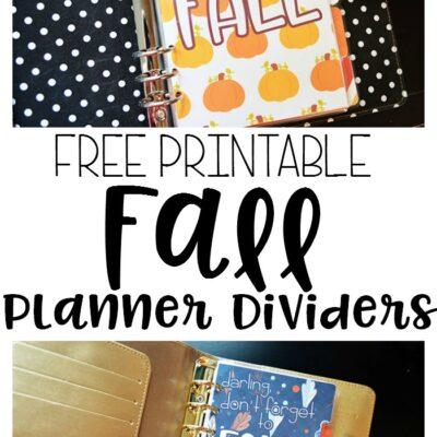Printable Fall Planner Dividers!