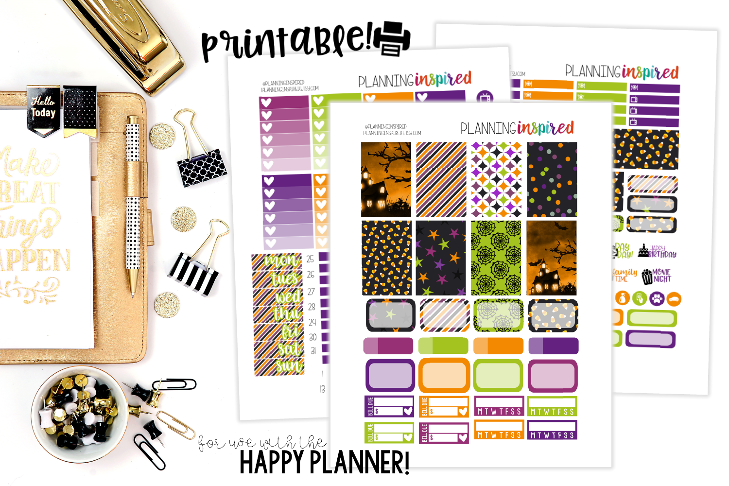 photograph about Free Printable Happy Planner Stickers identify Cost-free Printable Halloween Weekly Sticker Package - Building Impressed