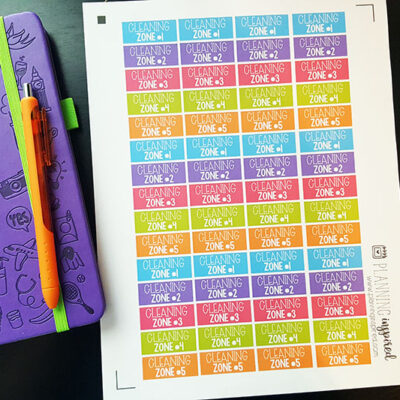 Free Zone Cleaning Printable Planner Stickers!
