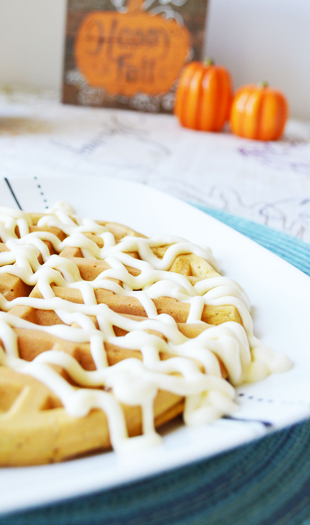 Pumpkin Waffles with Maple Cream Cheese Icing