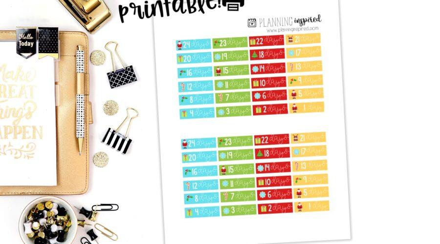 Printable Christmas Countdown Stickers