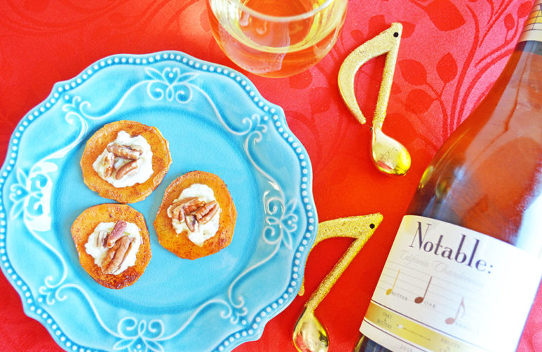 Sweet Potato and Goat Cheese Appetizers with Maple and Pecan