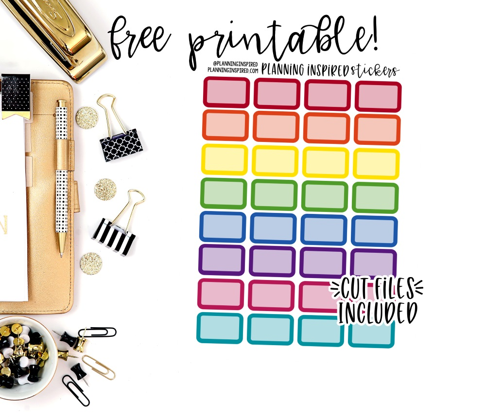 image about Free Printable Stickers identify Absolutely free Printable Rainbow 50 % Box Stickers - Designing Impressed