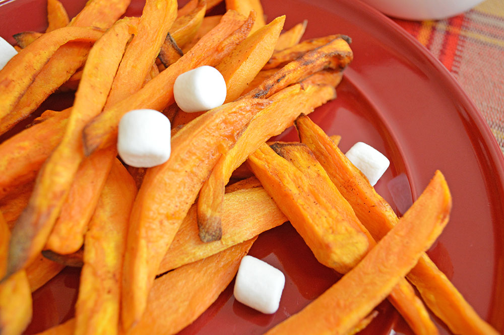 Air Fryer Sweet Potato Fries with Marshmallow Dipping Sauce