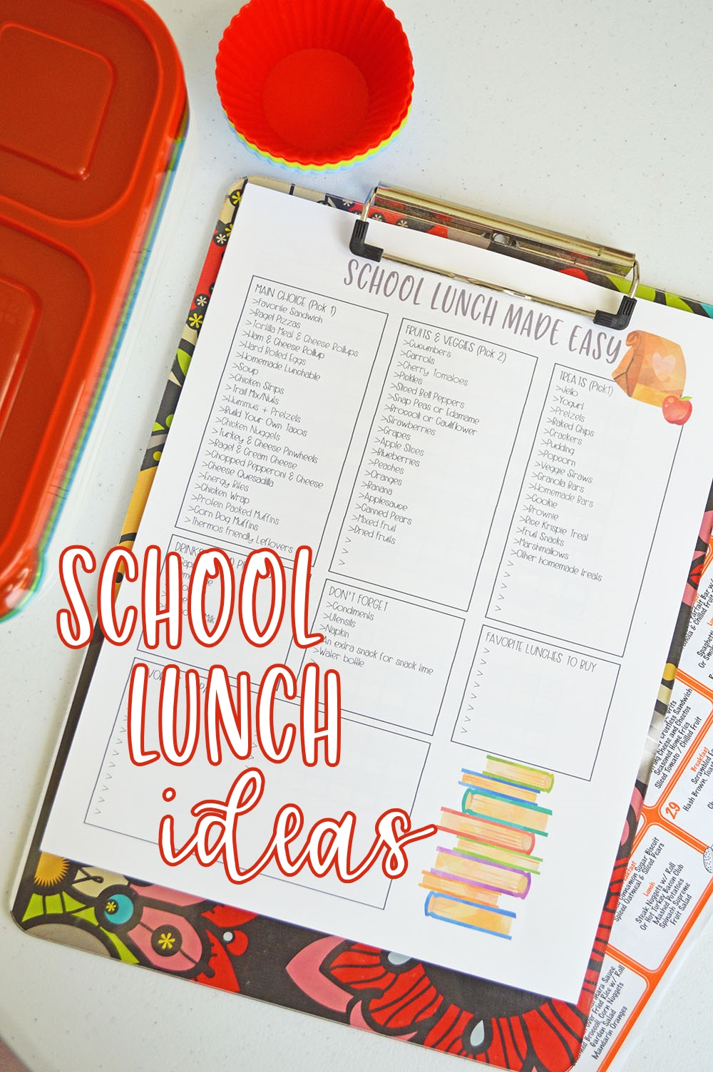 School Lunch Ideas Printable - Planning Inspired