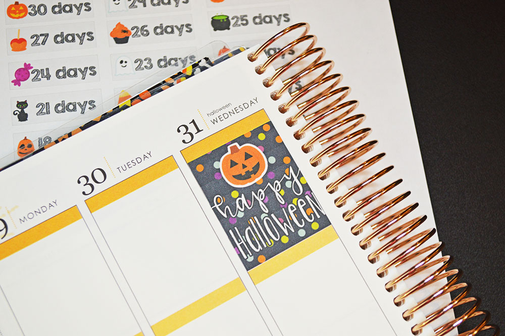 free printable Halloween countdown stickers