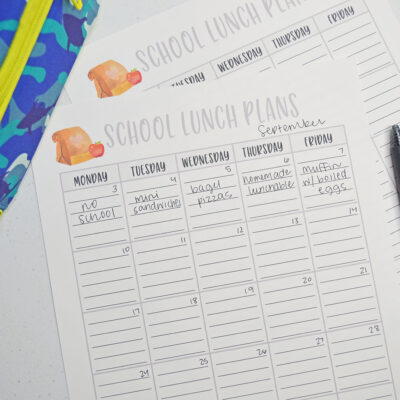 School Lunch Planner Printable
