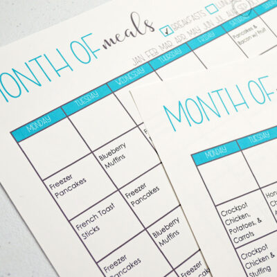 September Monthly Meal Plan Printable