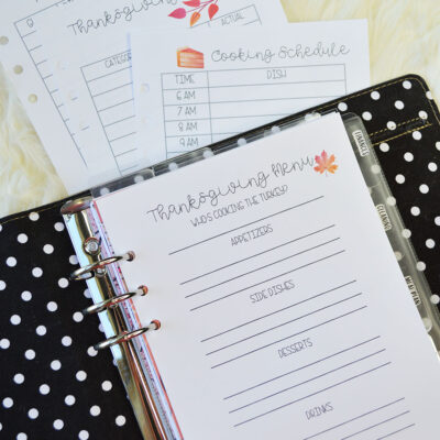 Printable Thanksgiving Planner Inserts | Personal & Half Size