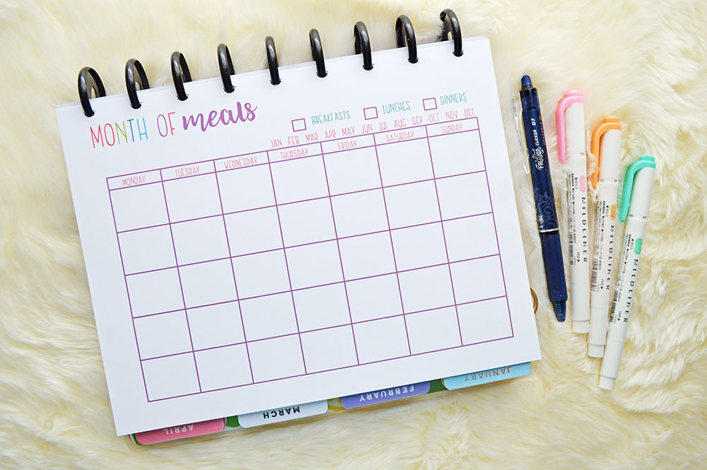January 2019 Meal Calendar Meal Plan With Me | January 2019   Planning Inspired