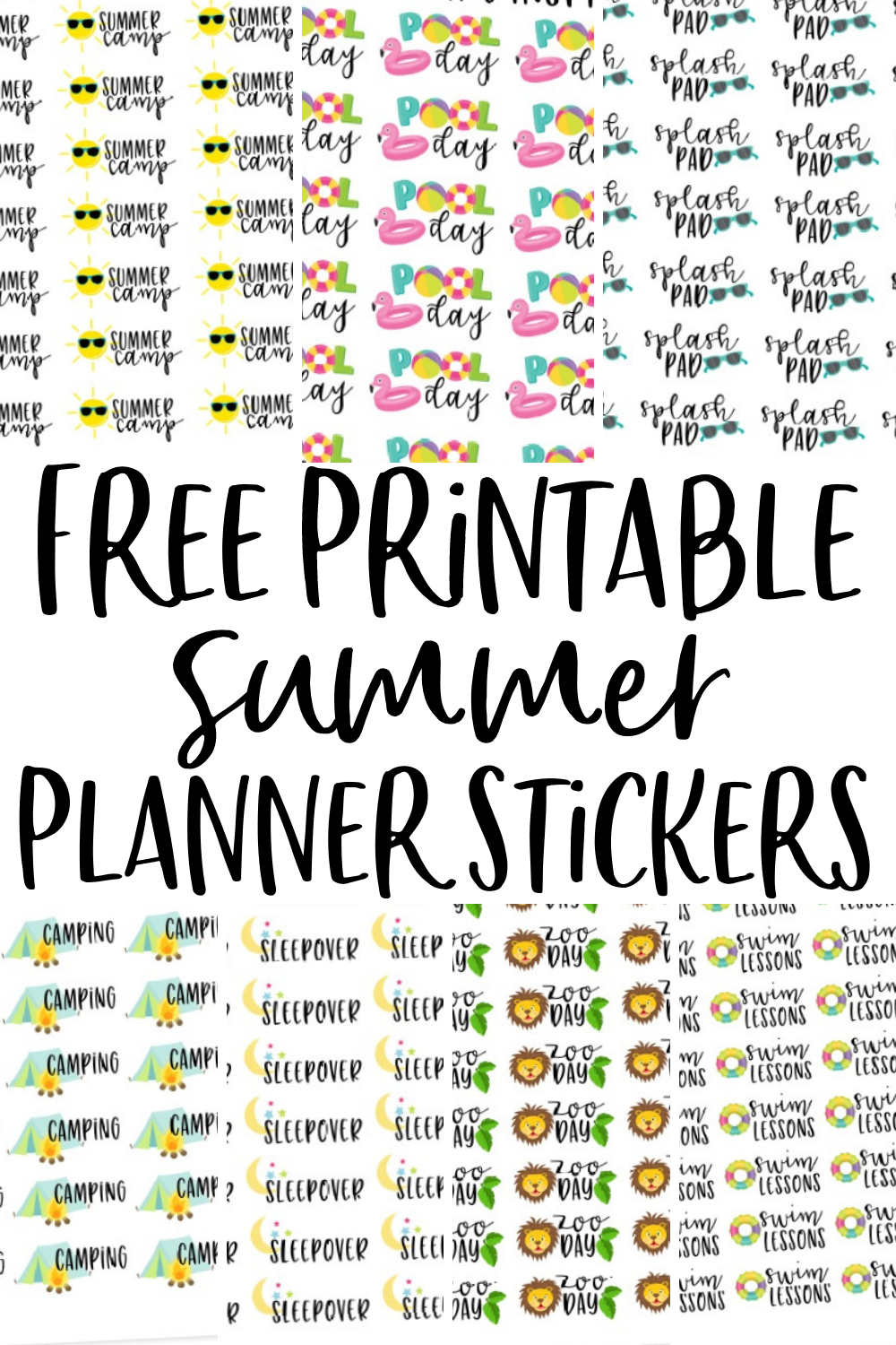 photo about Free Printable Stickers named Absolutely free Printable Planner Stickers for Summer time - Developing Impressed