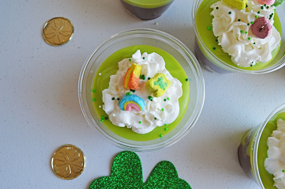 Mini St. Patrick's Day Brownie Trifle Cups