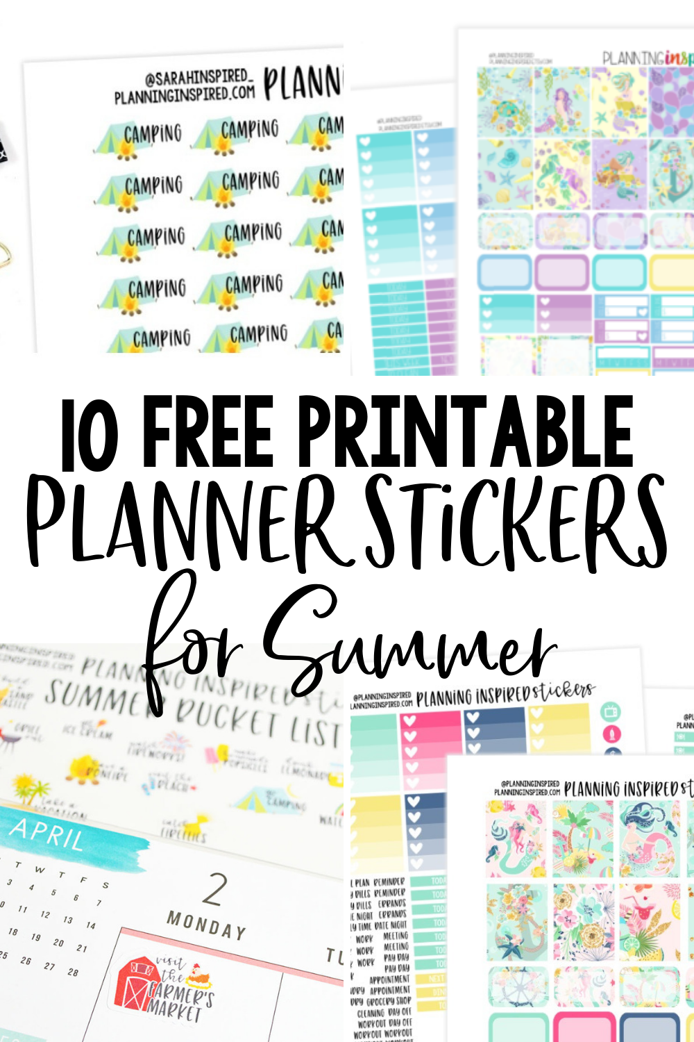 picture relating to Free Printable Planners called 10 Cost-free Printable Planner Stickers for Summer months - Building