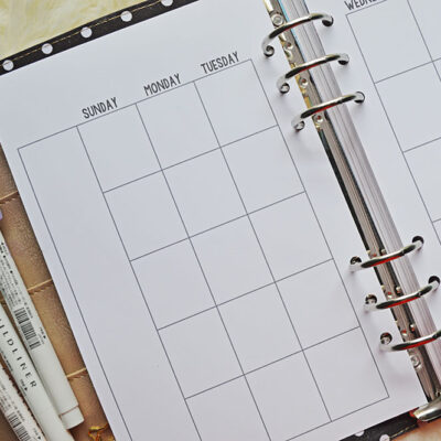 Free Printable Half Size Monthly Calendar For Your A5 Planner