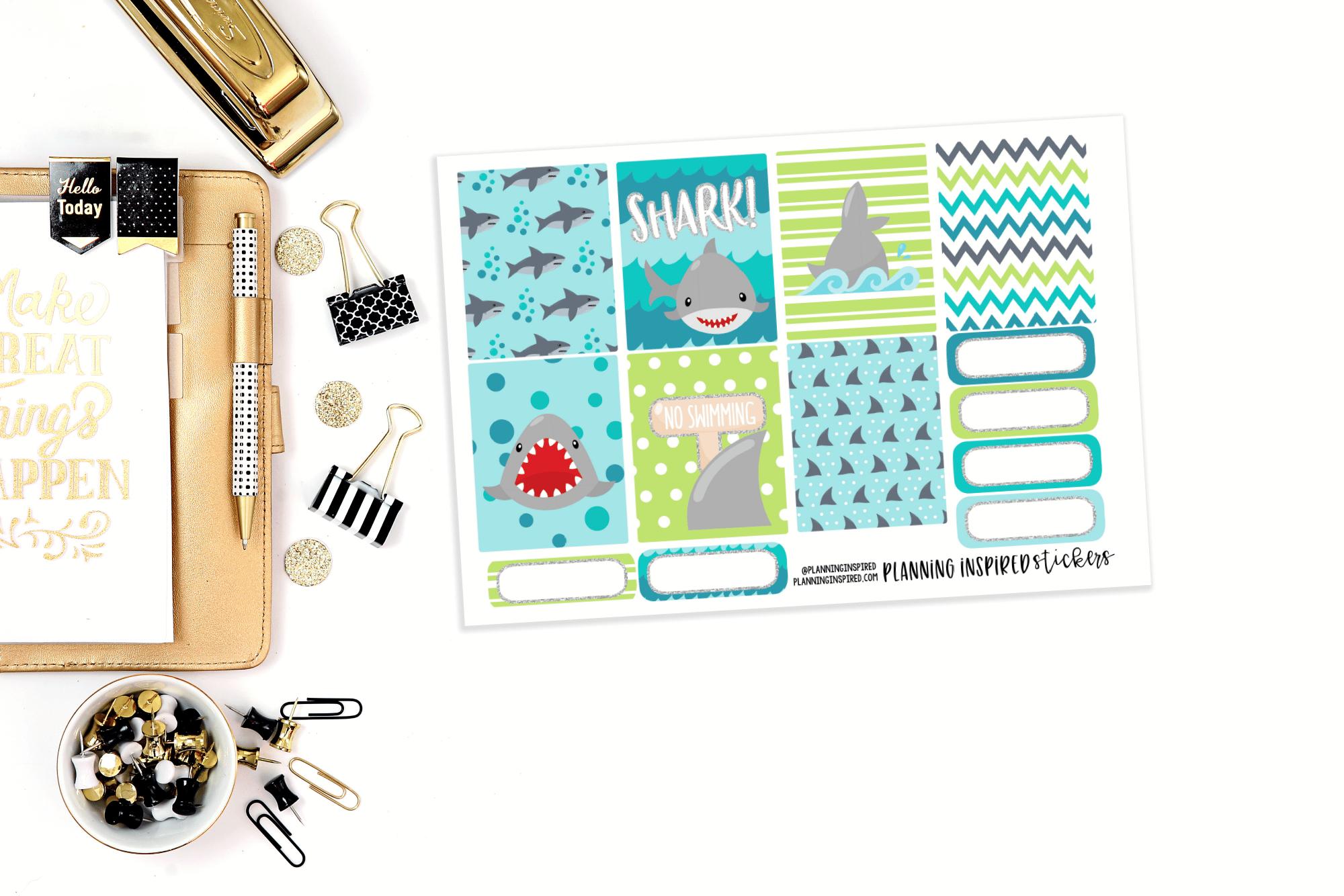 Free Printable Stickers | Shark Weekly Kit for Shark Week!