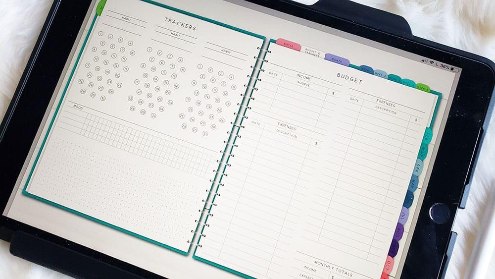 digital planner on an ipad screen