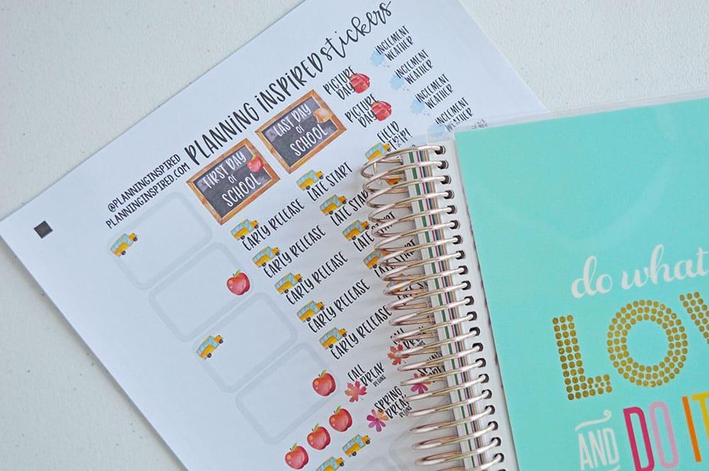 watercolor school planner stickers