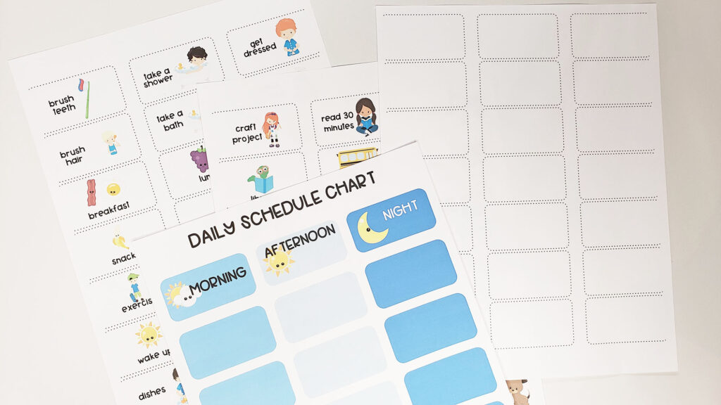 customizable schedule cards for kids