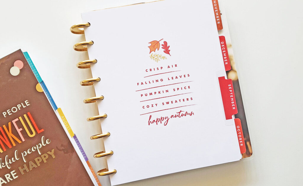Fall Happy Planner divider