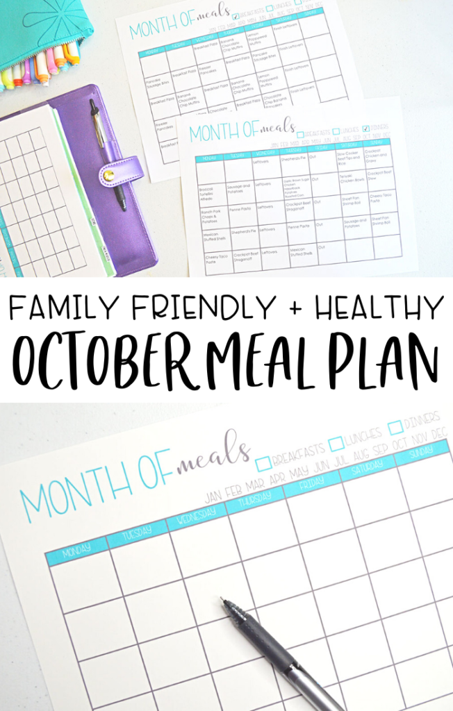 Family Friendly Healthy Meal Plan for October