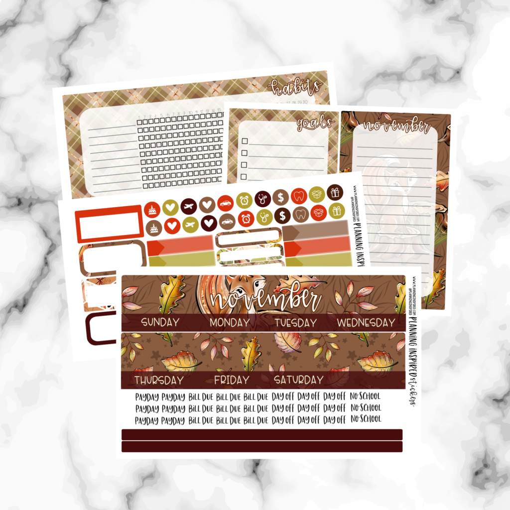 forest themed erin condren monthly stickers