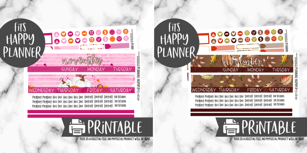 printable monthly stickers for the Happy Planner