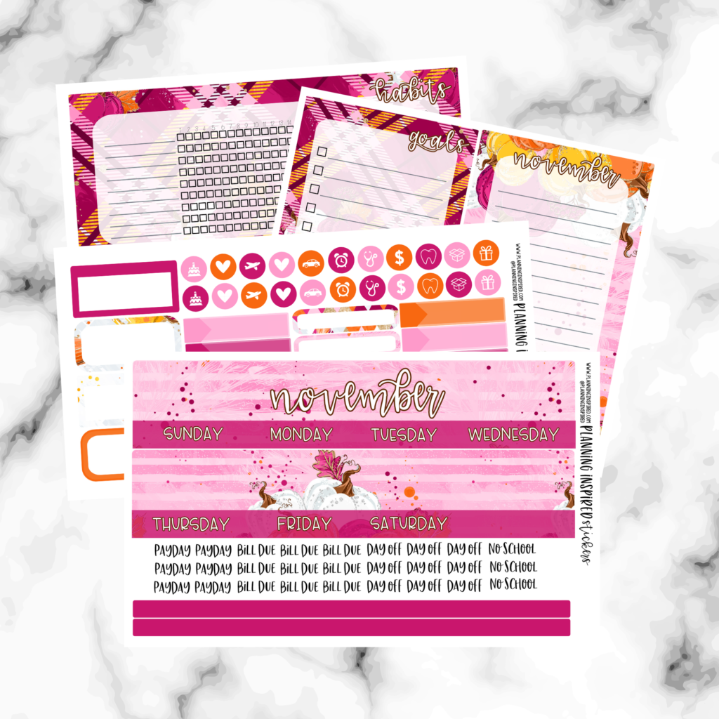 Thanksgiving themed planner stickers