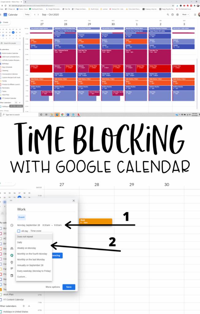 time blocking with google calendar