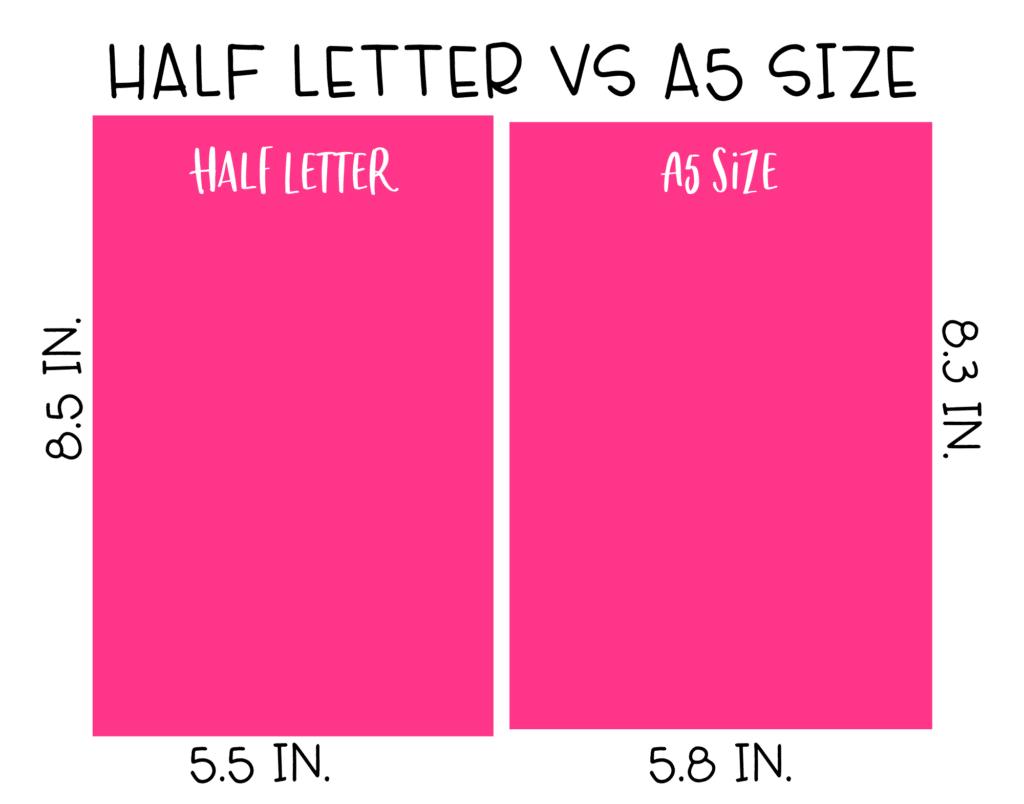 Half letter size vs A5