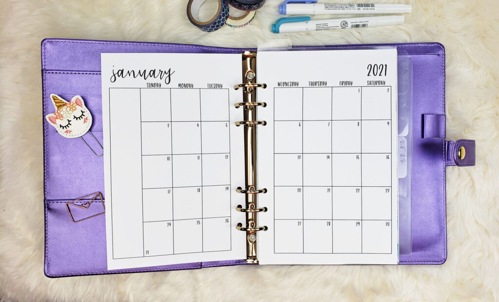 Free Printable A5 Monthly Planner Inserts for 2021