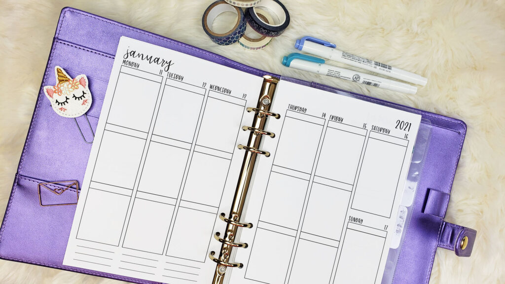 A5 Vertical Weekly Planner Inserts