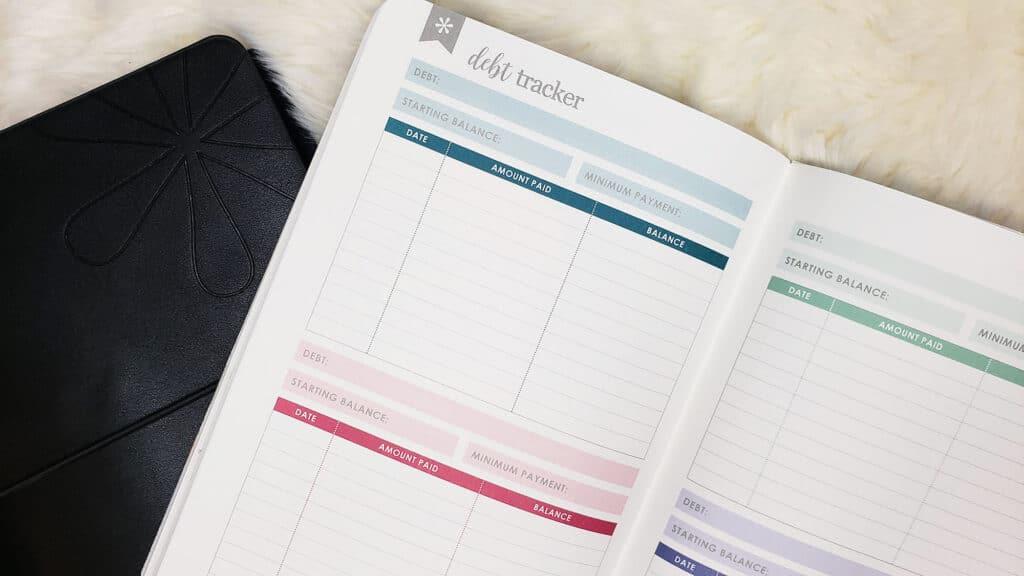 tracking debt in the erin condren petite planner budget book