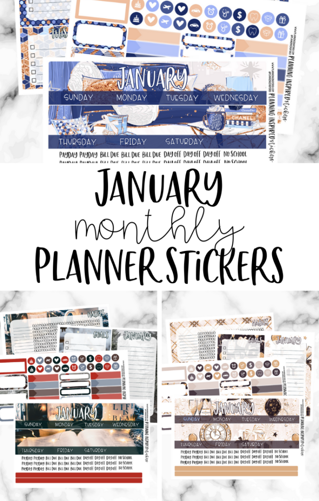 January Monthly Stickers for Erin Condren & Happy Planner