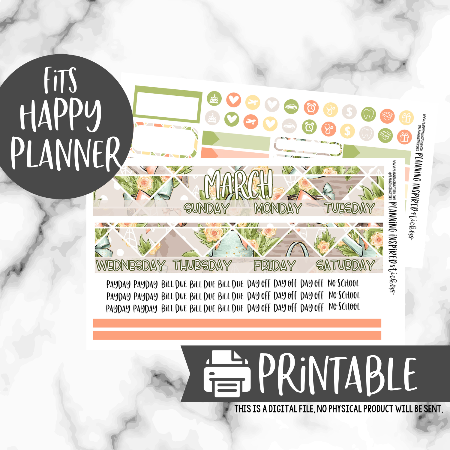 Free Printable March Happy Planner Monthly Stickers