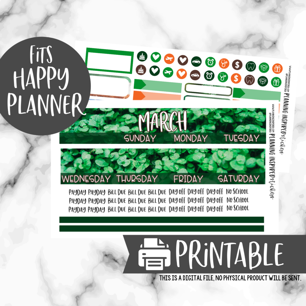 Irish monthly stickers for Happy Planner