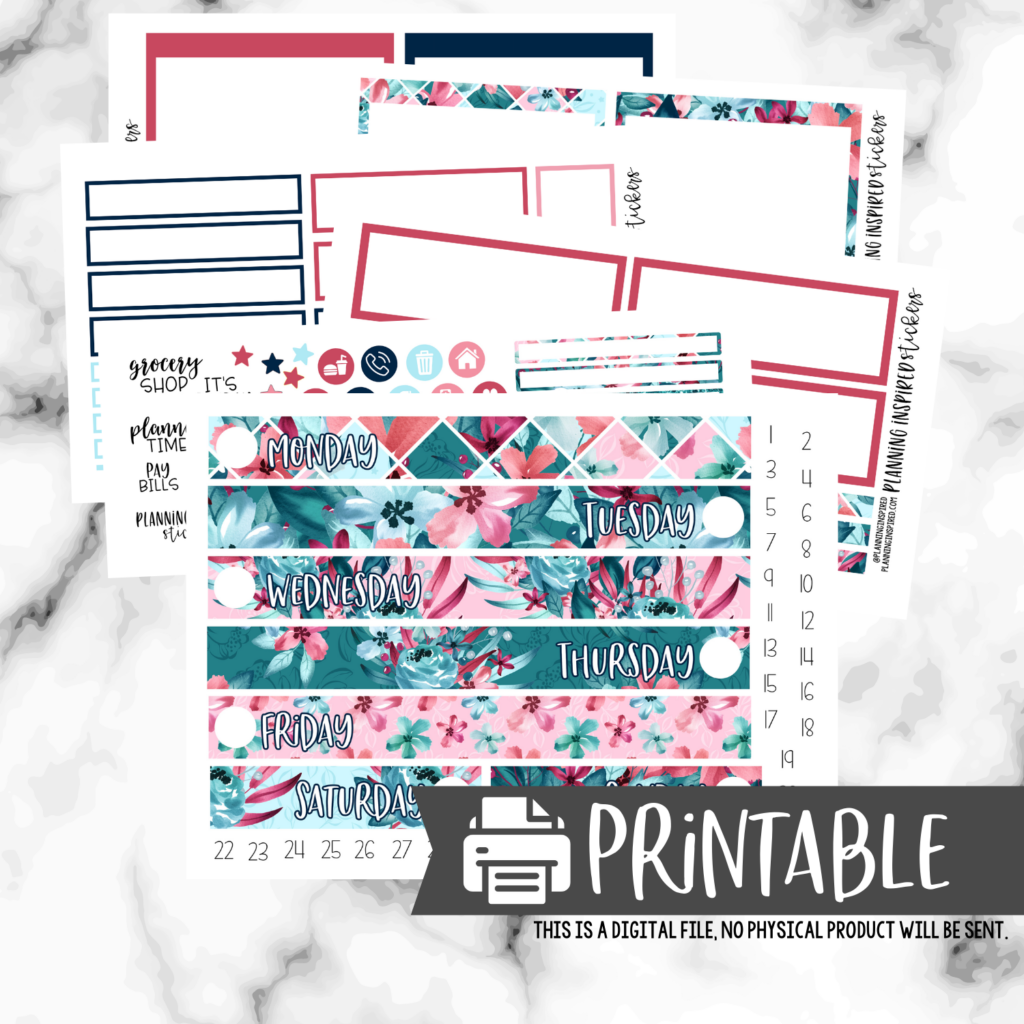 Free Printable Floral Daily Duo Sticker Kit