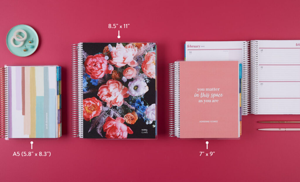 Erin Condren 2021-2022 planner sizes