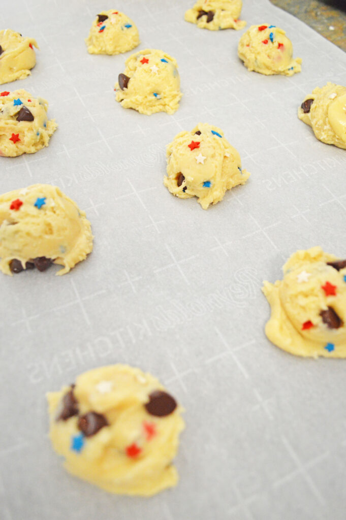 cookies scooped on a cookie sheet