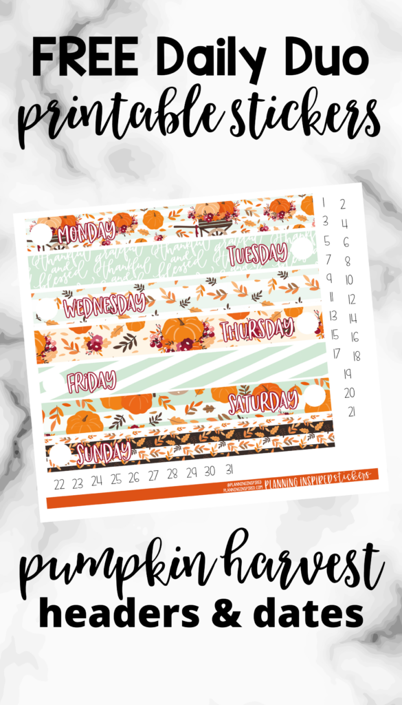 free printable daily duo stickers - pumpkin harvest headers and date dots